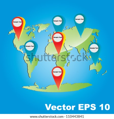 Vector Earth map concept with GPS Icons