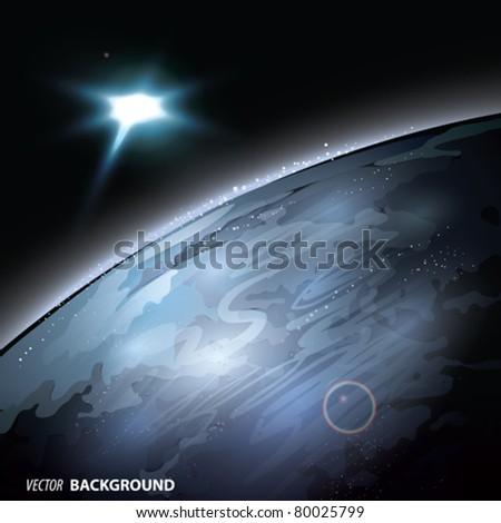 vector earth with sun