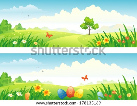 vector easter and spring banners
