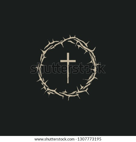 Vector Easter banner with crown of thorns and cross on the black background