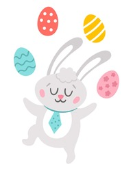 Vector Easter bunny icon. Rabbit juggling with colored eggs isolated on white background. Greeting card template with cute adorable animal for kids. Funny spring hare with closed eyes.