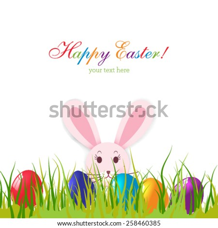 Vector Easter card with eggs and rabbit on green grass.  #258460385