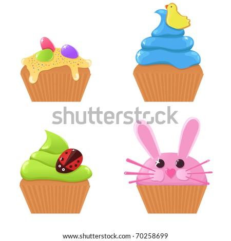 Vector Easter cupcakes - stock vector