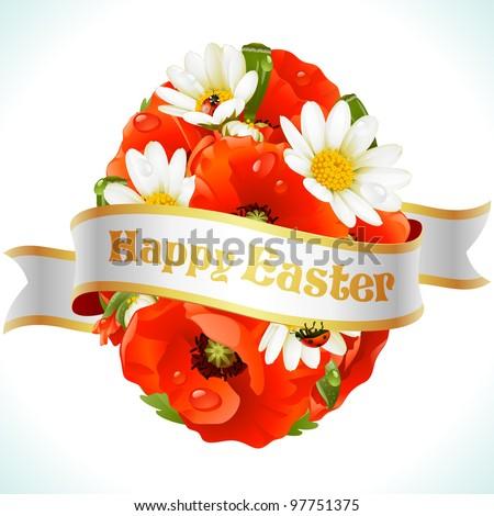vector easter egg from flowers