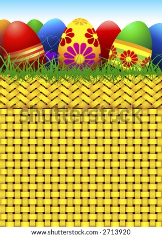 Vector Easter Eggs and Basket.