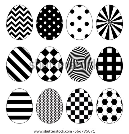 vector easter eggs  black and