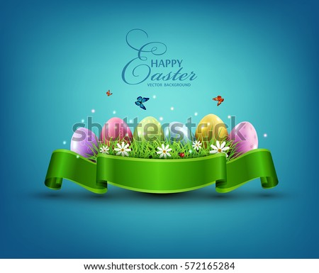 vector easter eggs with grass