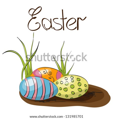 Vector Easter greeting card with eggs