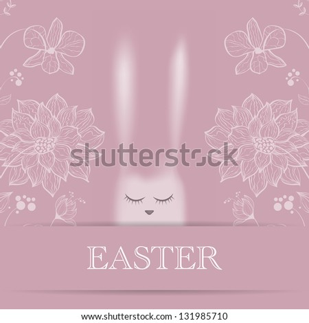 Vector Easter greeting card with pink rabbit