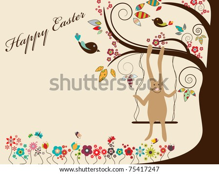 Vector Easter greeting card with rabbit on swings