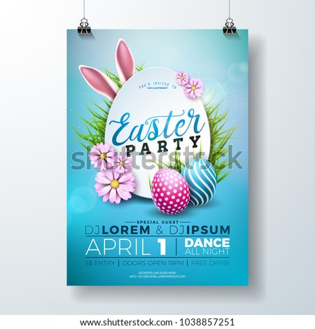 vector easter party flyer