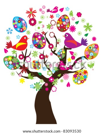 vector easter tree with eggs, flowers ang birds