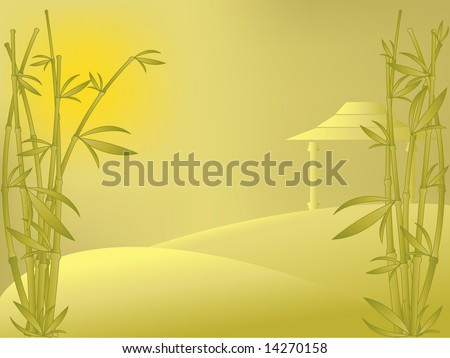 vector eastern landscape with bamboo, house and sunrise. Meshes used for background only.