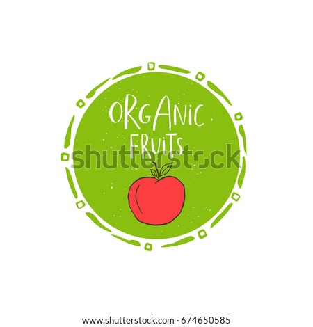 Vector eco, bio green logo or sign. Vegan, raw, healthy food badge, tag for cafe, restaurants, products packaging. Hand drawn plant elements with lettering. Organic design template.
