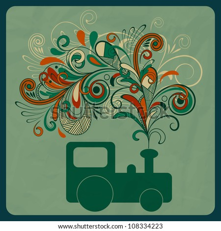 vector eco concept with a steam train and floral pattern instead of smoke, crumpled paper texture,  eps 10, mesh