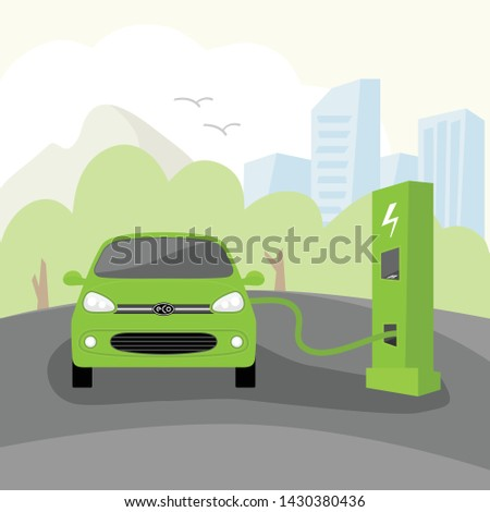 Vector Eco electric car. Electric car charging at refueling power station on the background of the big city. Flat style vector illustration.