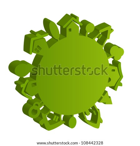 Vector eco green planet isolated on white background