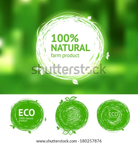 Vector eco labels with sketch drawing design elements #180257876