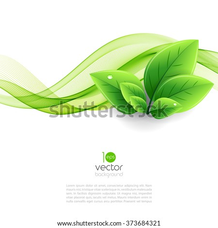 Stock Photo Vector eco leaves and green wave. Abstract ecology background
