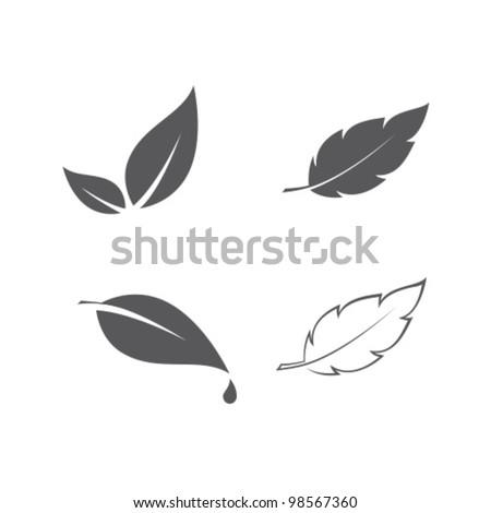 Stock Photo Vector Eco Leaves Set