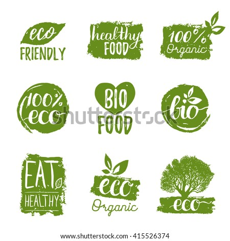 Vector eco, organic, bio logos or signs. Vegan, healthy food badges, tags set for cafe,restaurants, products packaging etc.