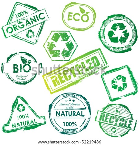 Vector eco stamp set