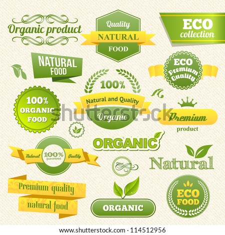 Vector Eco Stamps, Banners and Labels. Eco Style.