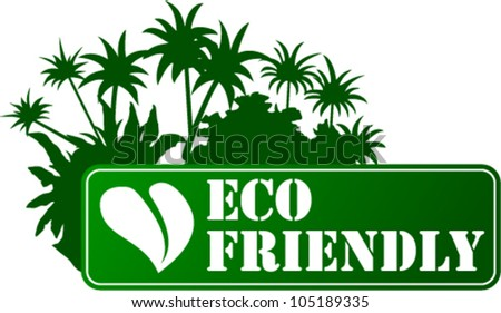 Vector Eco Sticker with Leaf and Palms
