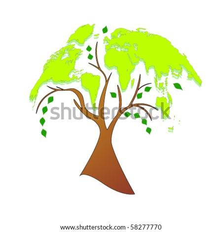 Vector eco tree (world map)