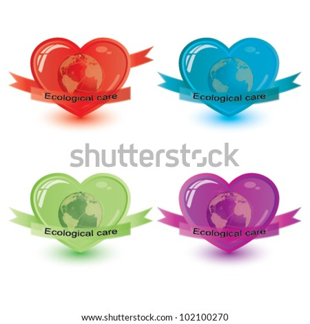 Vector ecological care, heart symbol set