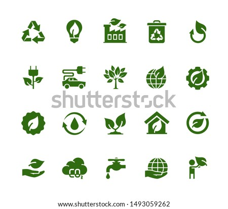 Vector Ecology and Industry Related Vector Icon Set Photo stock ©