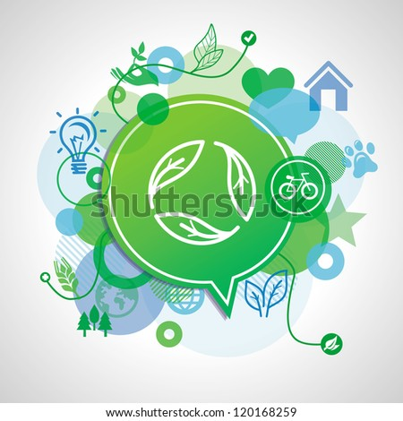 Vector ecology concept - design elements and signs