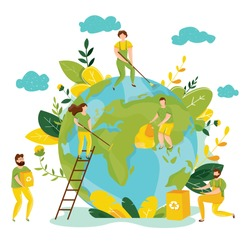 Vector ecology concept. People take care about planet ecology. Protect nature and ecology banner. Earth day. Globe with trees, plants and volunteer people. People cleaning garbage on Earth area.