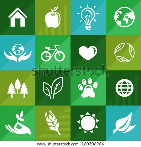 vector ecology icons and signs