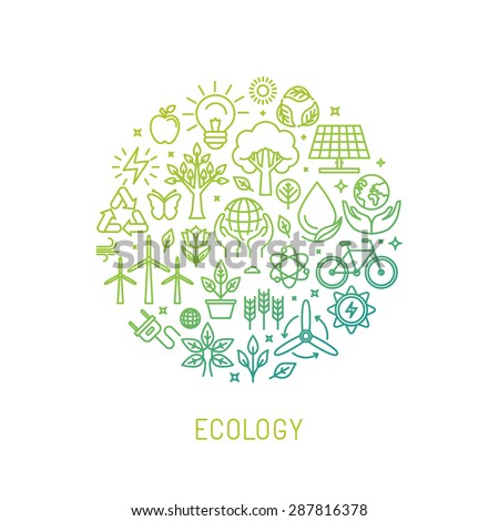 Vector ecology illustration with icons and signs in linear style - alternative energy, natural conservation and environment protection concept - poster or banner template