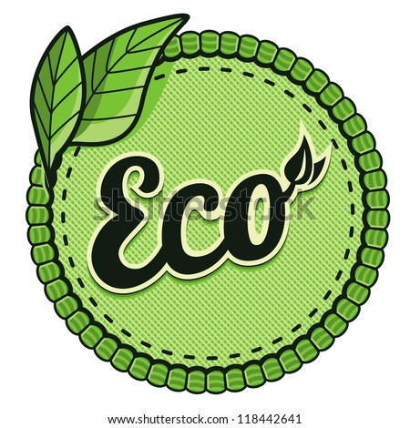 Vector ecology label - eco sign and text on round sticker