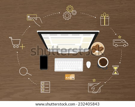 Vector ecommerce illustration of online shopping and marketing with computer, smartphone and credit card. Marketing ecommerce process of online ordering and payment for goods on website with line icon