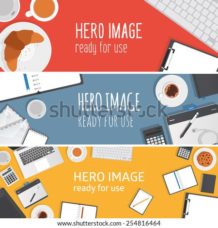 Vector editable banners - hero images made from stationery objects typical for graphic studio and office. Ready for use.