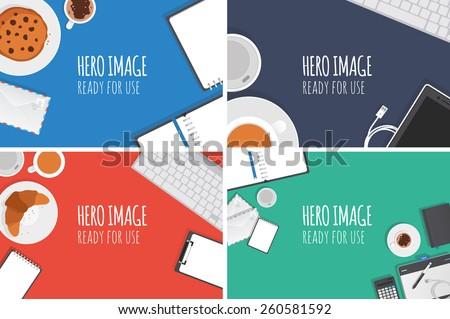 vector editable banners   hero