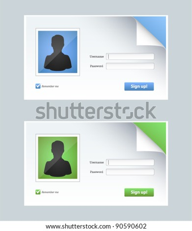 Vector editable contact form with person icons in two colors