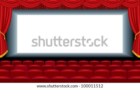 vector editable illustration of the empty cinema with free bottom layer for your image