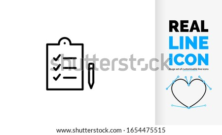 Vector editable real line icon of positive form or file with check list vink pictogram to evaluate something as a black rounded lines pictogram Stock photo ©