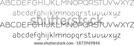 Vector editable stroke line designed capital and small English letters font Stockfoto ©