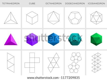 Vector editable stroke platonic solids on white background