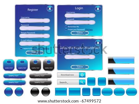 Vector editable website buttons. Blue version.