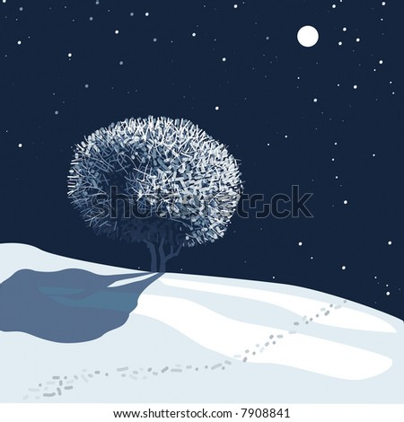 vector editable winter landscape in moonlight - stock vector