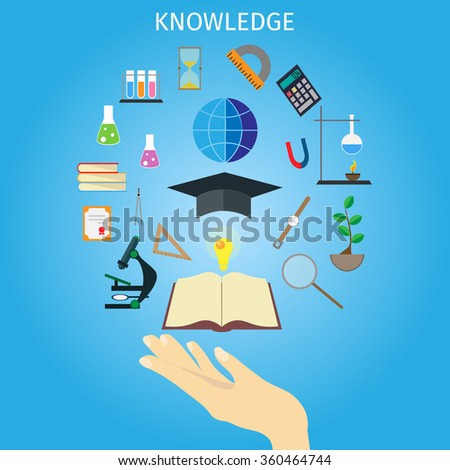 Vector education concept. Hand and tools of school