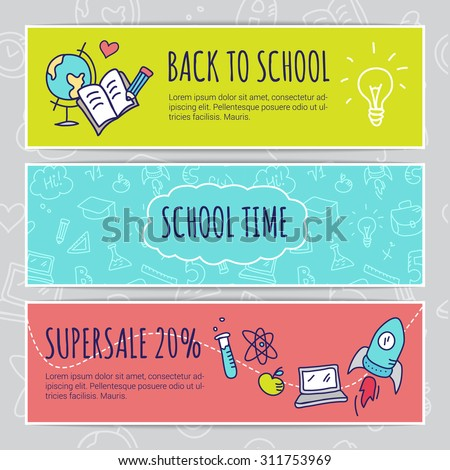 Vector education design concept with hand drawn elements. Cute back to school sale colorful banners