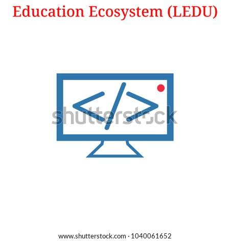 Vector Education Ecosystem (LEDU) digital cryptocurrency logo. Education Ecosystem (LEDU) icon. Vector illustration isolated on white background.