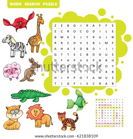 Vector education game for children about animals -Word search puzzle